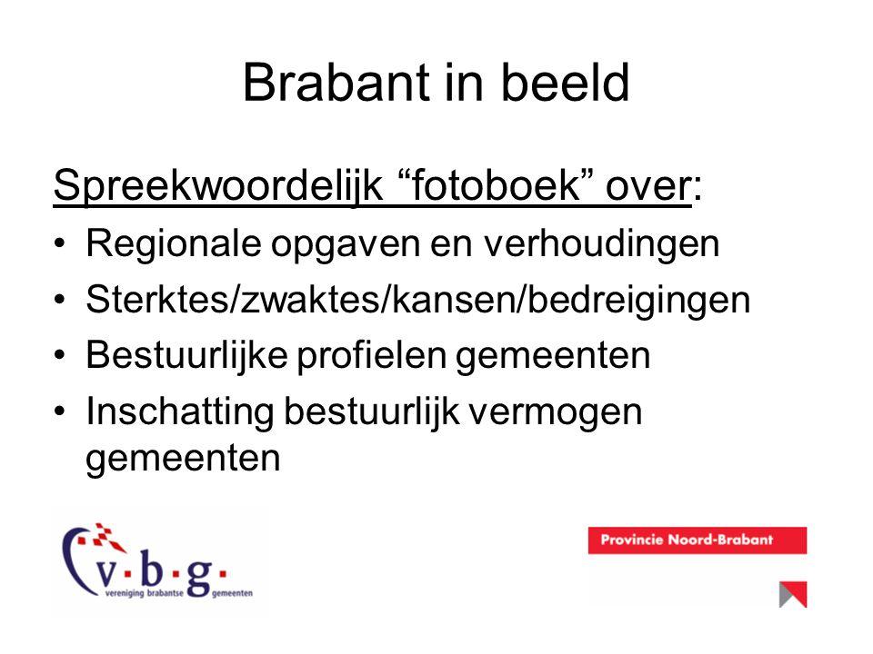 """Brabant in beeld Spreekwoordelijk """"fotoboek"""" over: Regionale opgaven en verhoudingen Sterktes/zwaktes/kansen/bedreigingen Bestuurlijke profielen gemee"""