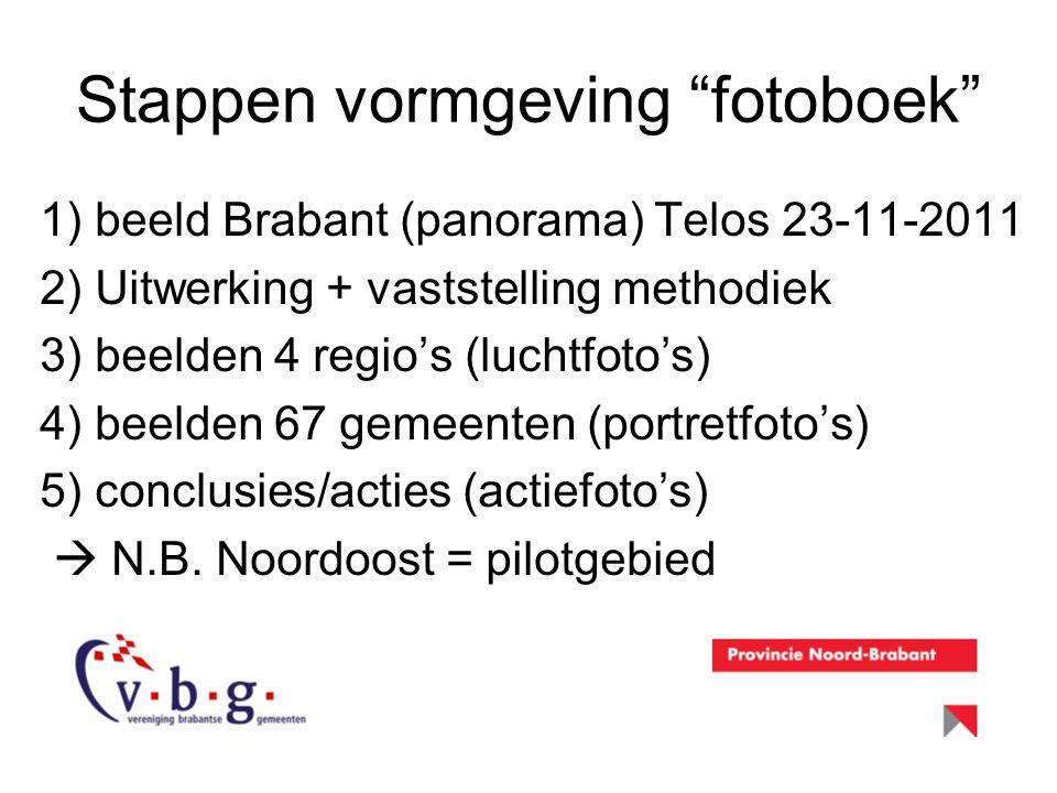 "Stappen vormgeving ""fotoboek"" 1) beeld Brabant (panorama) Telos 23-11-2011 2) Uitwerking + vaststelling methodiek 3) beelden 4 regio's (luchtfoto's) 4"