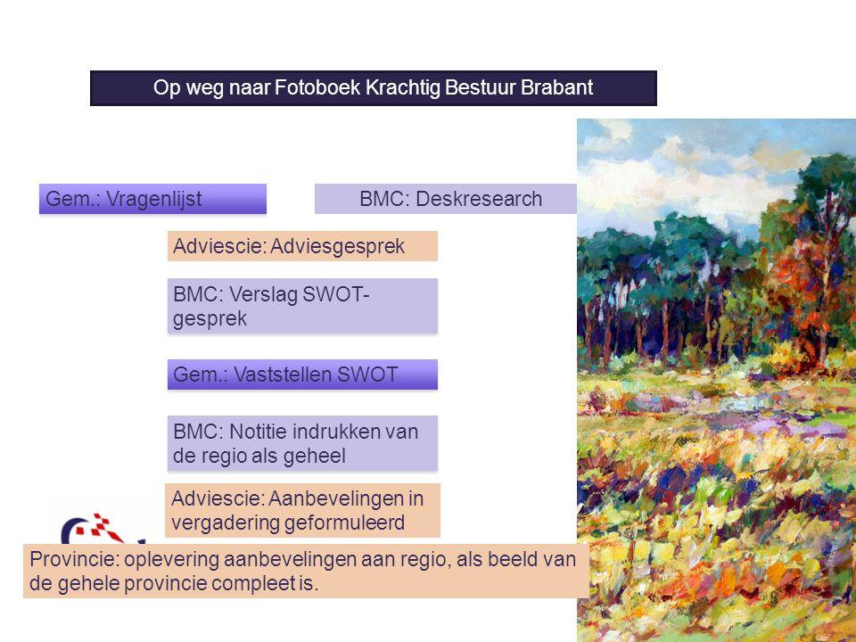 8 Op weg naar de Panorama BMC: Verslag SWOT- gesprek BMC: Deskresearch Adviescie: Adviesgesprek Op weg naar Fotoboek Krachtig Bestuur Brabant Gem.: Va