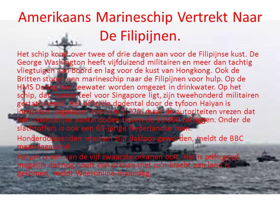 Amerikaans Marineschip Vertrekt Naar De Filipijnen. Het schip komt over twee of drie dagen aan voor de Filipijnse kust. De George Washington heeft vij