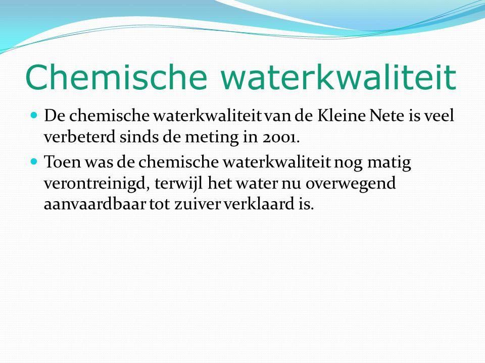 Chemische waterkwaliteit De chemische waterkwaliteit van de Kleine Nete is veel verbeterd sinds de meting in 2001. Toen was de chemische waterkwalitei
