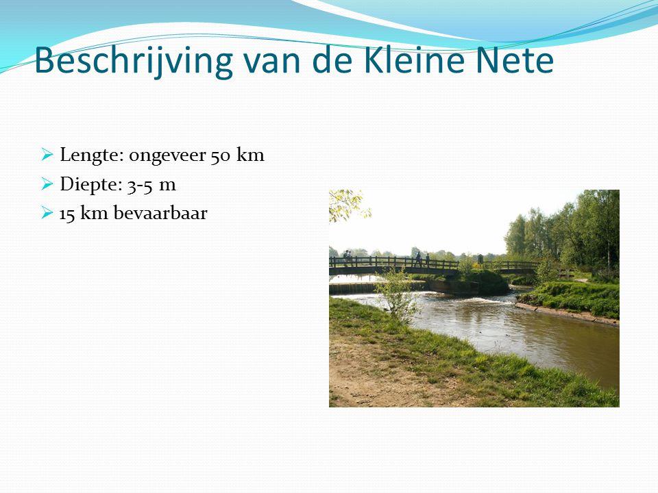 Beschrijving van de Kleine Nete  Lengte: ongeveer 50 km  Diepte: 3-5 m  15 km bevaarbaar
