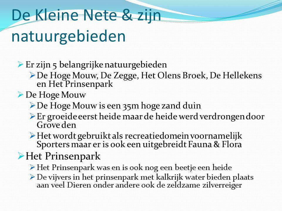 De Kleine Nete & zijn natuurgebieden  Er zijn 5 belangrijke natuurgebieden  De Hoge Mouw, De Zegge, Het Olens Broek, De Hellekens en Het Prinsenpark