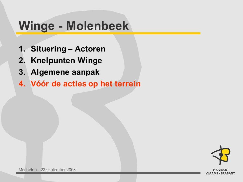 Mechelen – 23 september 2008 Winge - Molenbeek 1.Situering – Actoren 2.Knelpunten Winge 3.Algemene aanpak 4.Vóór de acties op het terrein