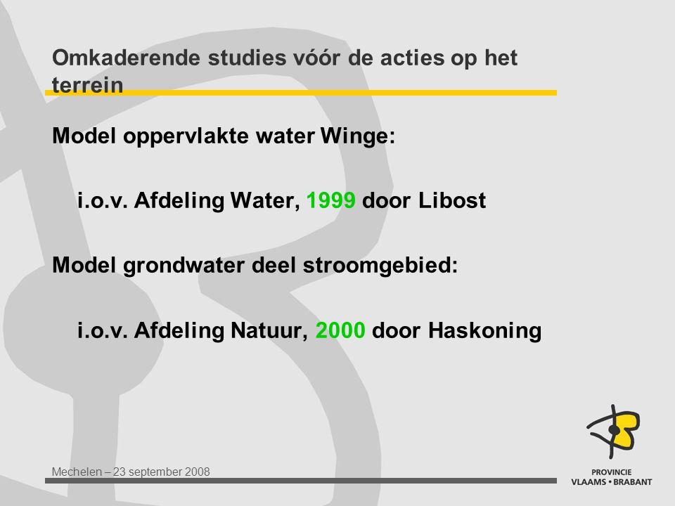 Mechelen – 23 september 2008 Omkaderende studies vóór de acties op het terrein Model oppervlakte water Winge: i.o.v. Afdeling Water, 1999 door Libost