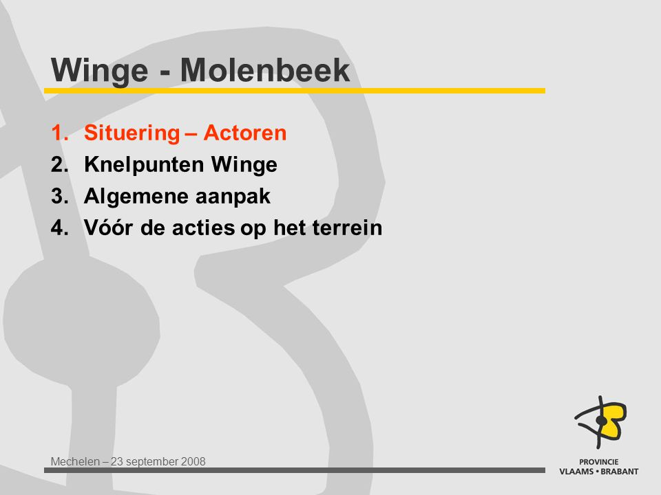 Mechelen – 23 september 2008 Situering – Opp.wateractoren