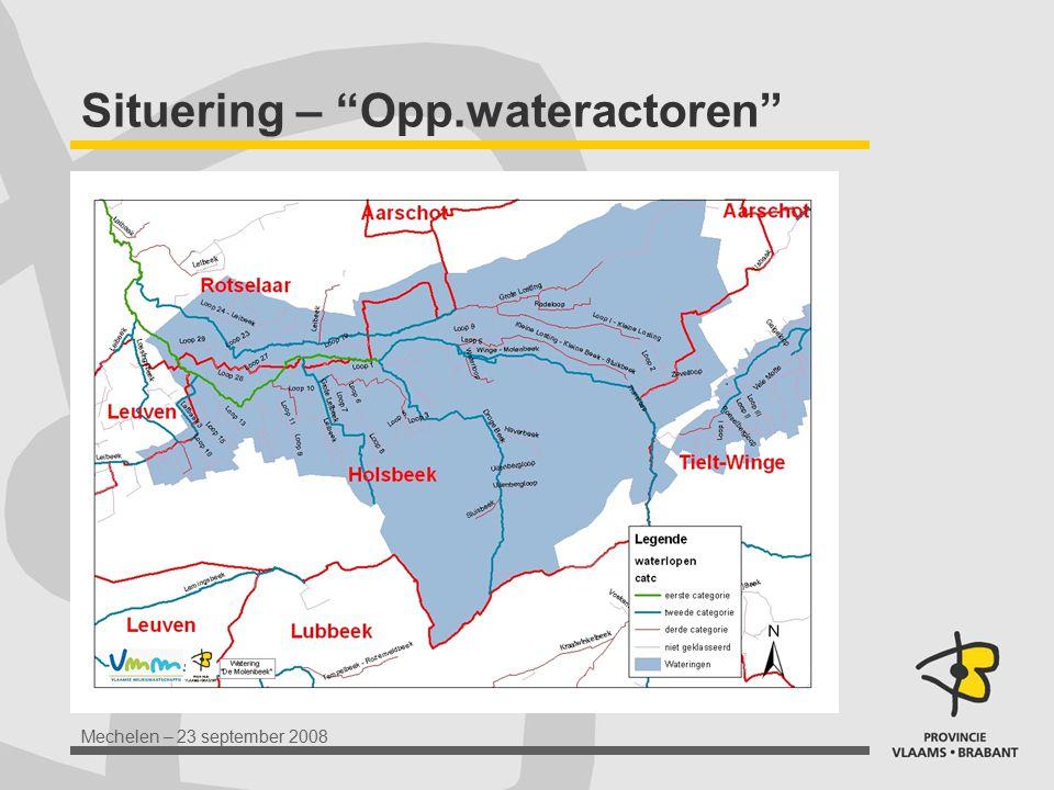 Mechelen – 23 september 2008 Actoren verschillende betrokken beheerders: VMM, afdeling Operationeel Waterbeheer (S, U) Provincie Vlaams-Brabant (S, U) gemeenten Watering De Molenbeek (U) Regionaal Landschap Noord-Hageland overleg met evt betrokken eigenaars en belangengroepen