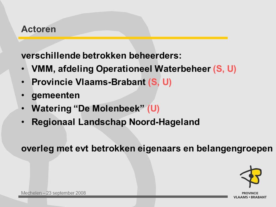 Mechelen – 23 september 2008 Actoren verschillende betrokken beheerders: VMM, afdeling Operationeel Waterbeheer (S, U) Provincie Vlaams-Brabant (S, U)
