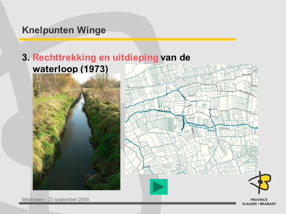 Mechelen – 23 september 2008 Knelpunten Winge 3. Rechttrekking en uitdieping van de waterloop (1973)