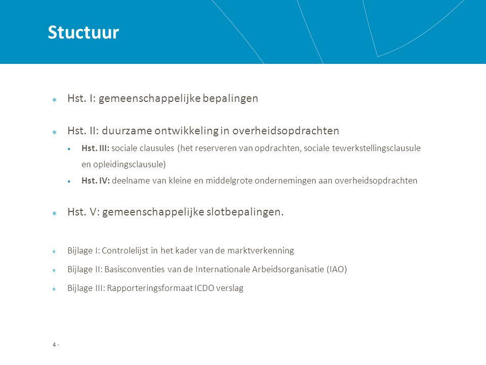 Hoofdstuk II: Duurzame ontwikkeling Afdeling 4: Kwalitatieve selectie (onderzoek technische en beroepsbekwaamheid) Verwijzing naar verklaringen van onafhankelijke instanties (of gelijkwaardig) Bijvoorbeeld: > Milieutechnische bekwaamheid: EMAS, ISO 14,001, voor zover milieuzorg van belang is bij de uitvoering van de opdracht; > Sociaal: SA 8000, Belgisch sociaal label; 25 -