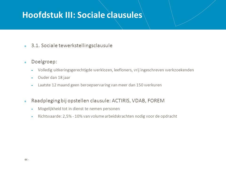 Hoofdstuk III: Sociale clausules 3.1.