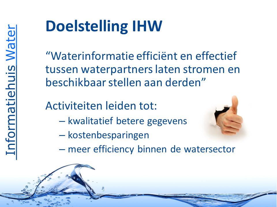 Informatiehuis Water Waterinformatie efficiënt en effectief tussen waterpartners laten stromen en beschikbaar stellen aan derden Activiteiten leiden tot: – kwalitatief betere gegevens – kostenbesparingen – meer efficiency binnen de watersector Doelstelling IHW