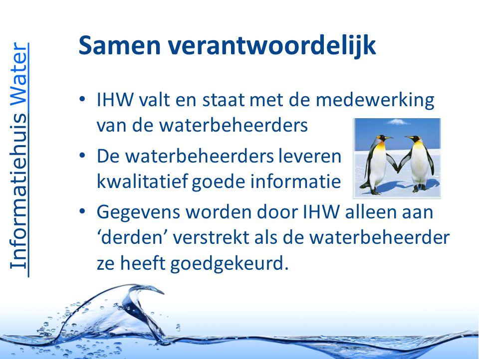 Informatiehuis Water Samen verantwoordelijk IHW valt en staat met de medewerking van de waterbeheerders De waterbeheerders leveren kwalitatief goede informatie Gegevens worden door IHW alleen aan 'derden' verstrekt als de waterbeheerder ze heeft goedgekeurd.