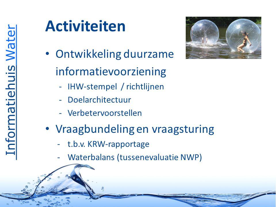 Informatiehuis Water Activiteiten Beheer Aquo-standaard – Domeintabellenservice en objectencatalogus – Focus op implementatie Functioneel beheer apps/databases o.a.: – KRW-portaal & KRWi Servicedesk – Onderdeel helpdesk Water / WMCN