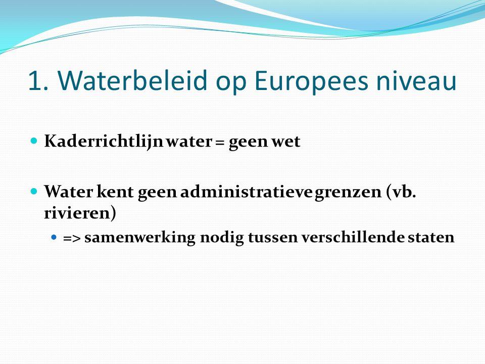1. Waterbeleid op Europees niveau Kaderrichtlijn water = geen wet Water kent geen administratieve grenzen (vb. rivieren) => samenwerking nodig tussen