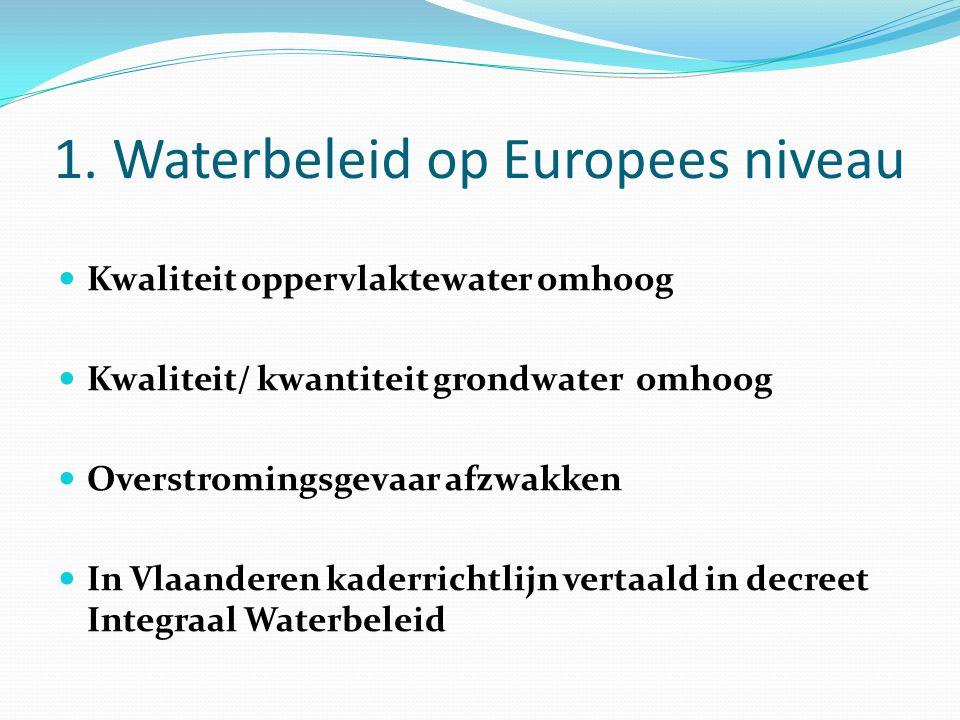 1. Waterbeleid op Europees niveau Kwaliteit oppervlaktewater omhoog Kwaliteit/ kwantiteit grondwater omhoog Overstromingsgevaar afzwakken In Vlaandere