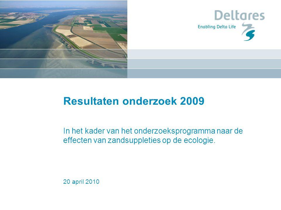 20 april 2010 Resultaten onderzoek 2009 In het kader van het onderzoeksprogramma naar de effecten van zandsuppleties op de ecologie.