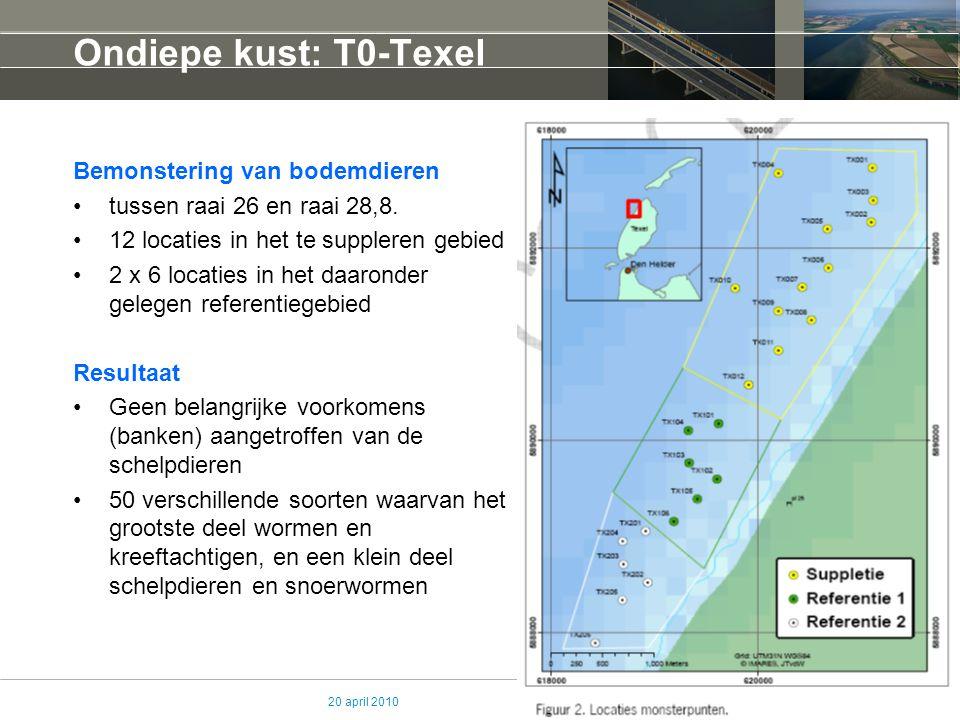 20 april 2010 Ondiepe kust: T0-Texel Bemonstering van bodemdieren tussen raai 26 en raai 28,8. 12 locaties in het te suppleren gebied 2 x 6 locaties i