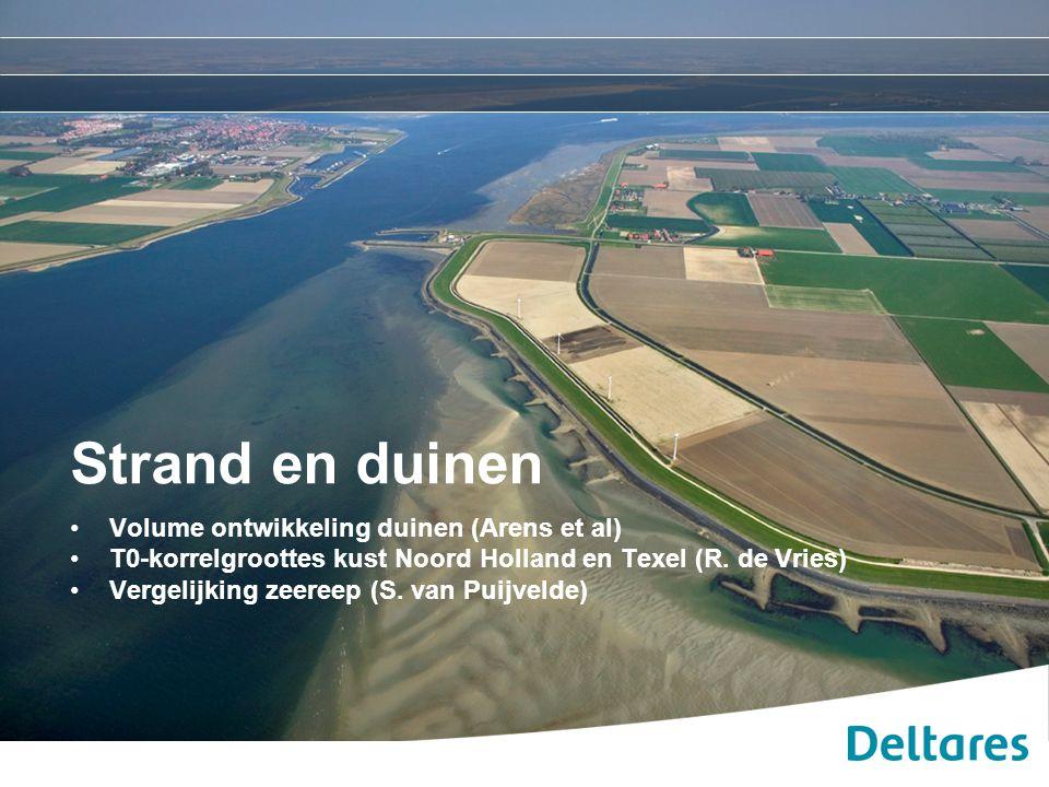 Strand en duinen Volume ontwikkeling duinen (Arens et al) T0-korrelgroottes kust Noord Holland en Texel (R. de Vries) Vergelijking zeereep (S. van Pui