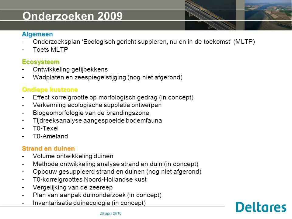 20 april 2010 Onderzoeken 2009 Algemeen -Onderzoeksplan 'Ecologisch gericht suppleren, nu en in de toekomst' (MLTP) -Toets MLTPEcosysteem -Ontwikkelin