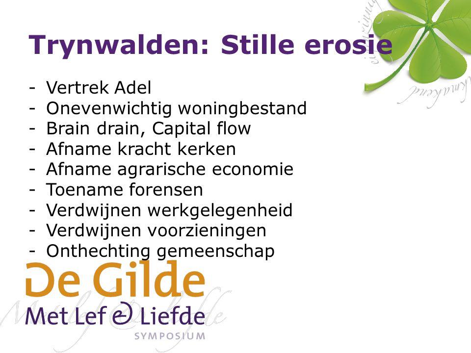 Trynwalden: Stille erosie -Vertrek Adel -Onevenwichtig woningbestand -Brain drain, Capital flow -Afname kracht kerken -Afname agrarische economie -Toe