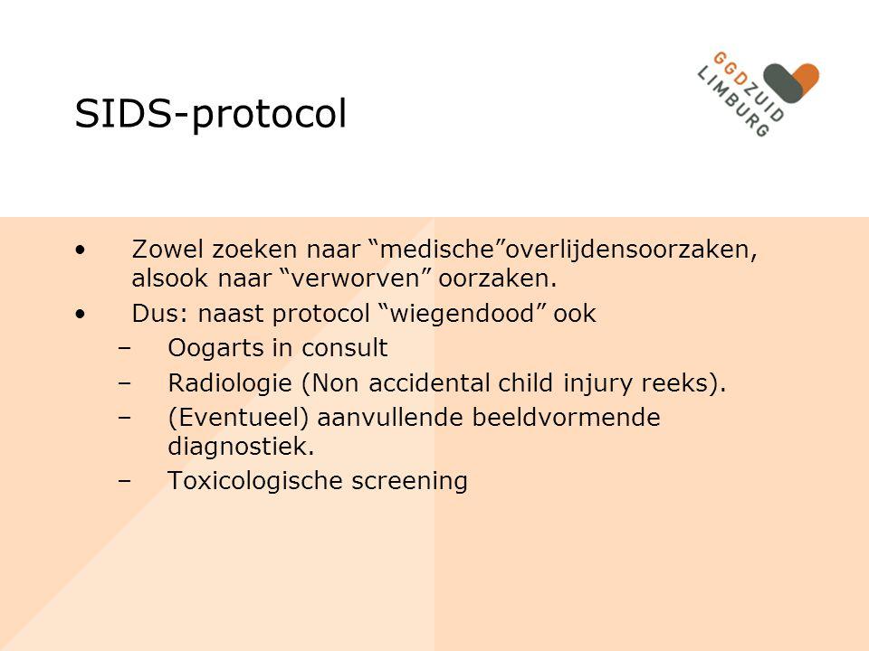 """SIDS-protocol Zowel zoeken naar """"medische""""overlijdensoorzaken, alsook naar """"verworven"""" oorzaken. Dus: naast protocol """"wiegendood"""" ook –Oogarts in cons"""