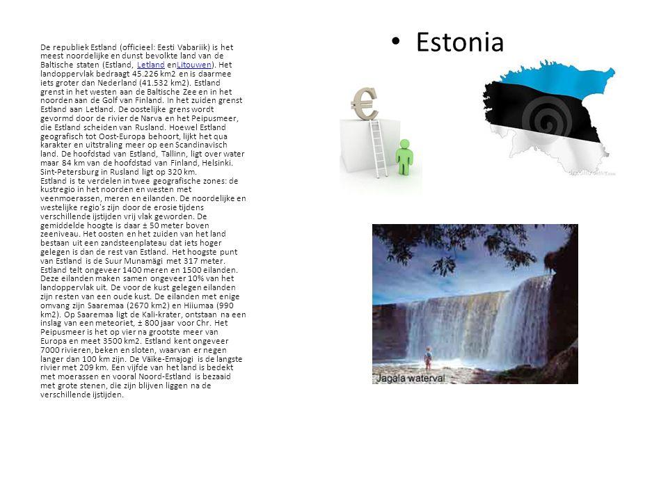 Estonia De republiek Estland (officieel: Eesti Vabariik) is het meest noordelijke en dunst bevolkte land van de Baltische staten (Estland, Letland enLitouwen).