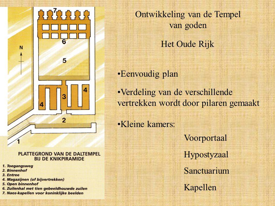 Ontwikkeling van de Tempel van goden Het Oude Rijk Eenvoudig plan Verdeling van de verschillende vertrekken wordt door pilaren gemaakt Kleine kamers: Voorportaal Hypostyzaal Sanctuarium Kapellen