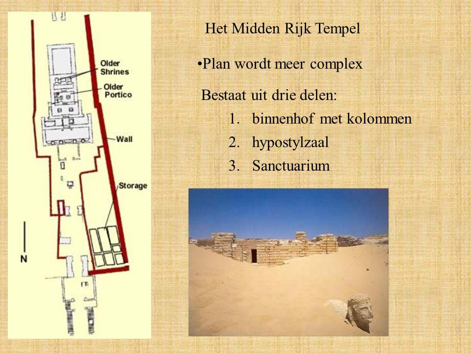 Het Midden Rijk Tempel Plan wordt meer complex Bestaat uit drie delen: 1.binnenhof met kolommen 2.