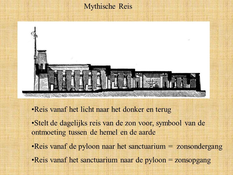 Mythische Reis Reis vanaf het licht naar het donker en terug Stelt de dagelijks reis van de zon voor, symbool van de ontmoeting tussen de hemel en de aarde Reis vanaf de pyloon naar het sanctuarium = zonsondergang Reis vanaf het sanctuarium naar de pyloon = zonsopgang