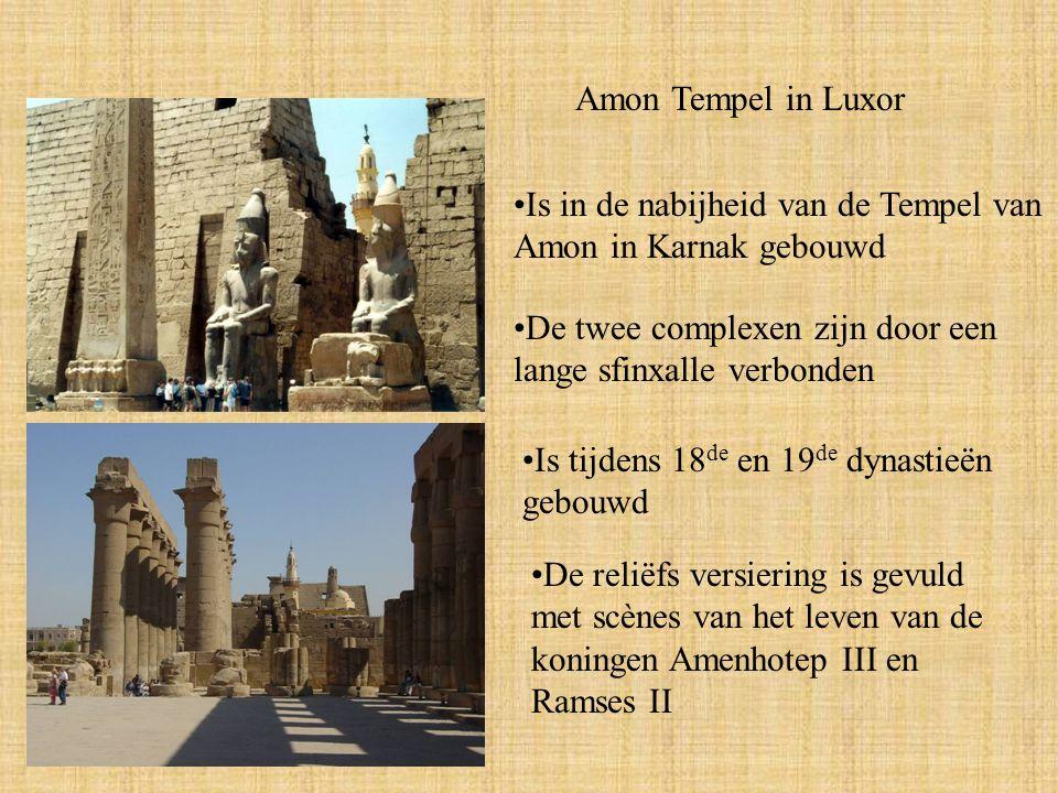 Amon Tempel in Luxor Is in de nabijheid van de Tempel van Amon in Karnak gebouwd De twee complexen zijn door een lange sfinxalle verbonden Is tijdens 18 de en 19 de dynastieën gebouwd De reliëfs versiering is gevuld met scènes van het leven van de koningen Amenhotep III en Ramses II
