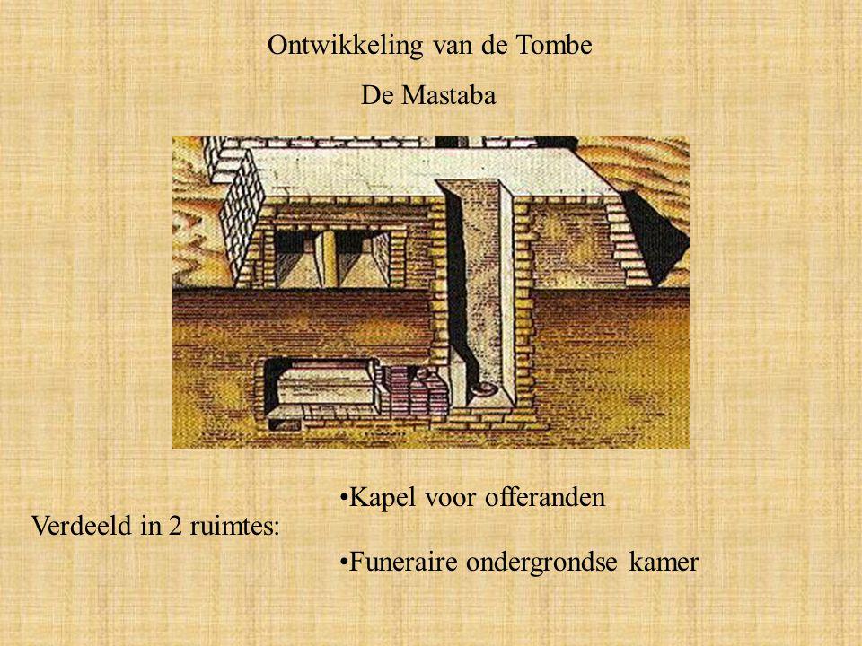 Ontwikkeling van de Tombe De Mastaba Verdeeld in 2 ruimtes: Funeraire ondergrondse kamer Kapel voor offeranden