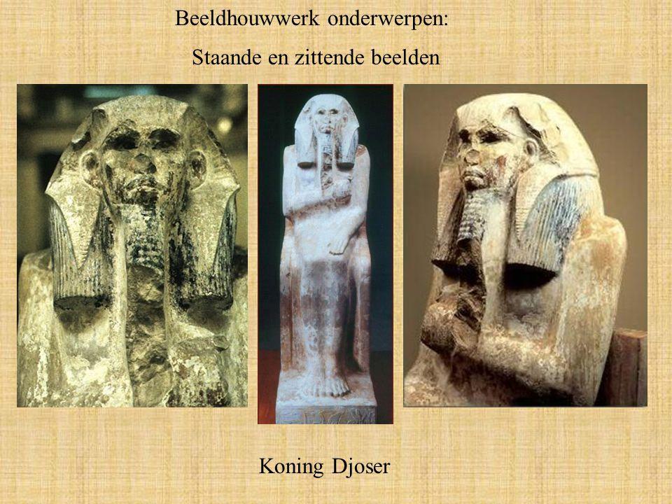 Beeldhouwwerk onderwerpen: Staande en zittende beelden Koning Djoser