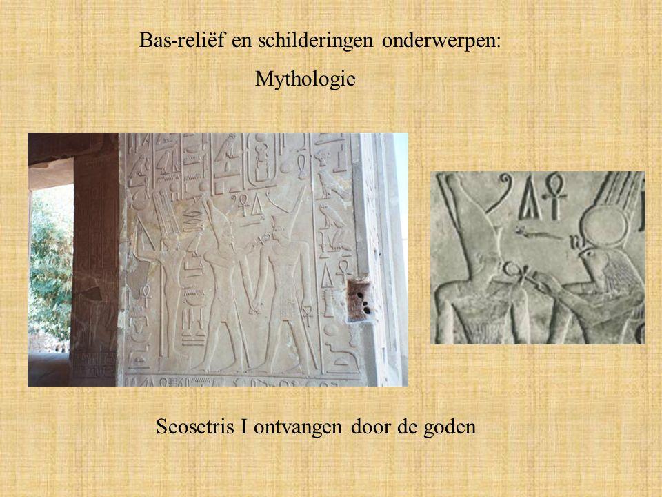 Mythologie Seosetris I ontvangen door de goden Bas-reliëf en schilderingen onderwerpen: