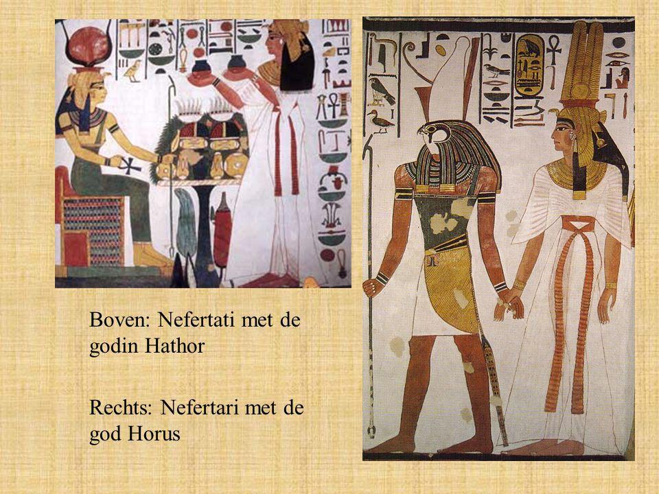 Boven: Nefertati met de godin Hathor Rechts: Nefertari met de god Horus