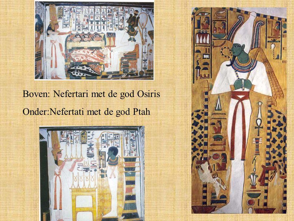 Boven: Nefertari met de god Osiris Onder:Nefertati met de god Ptah