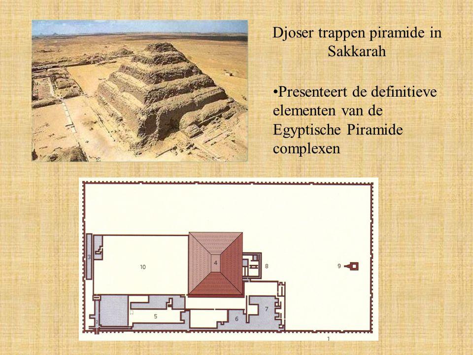 Djoser trappen piramide in Sakkarah Presenteert de definitieve elementen van de Egyptische Piramide complexen