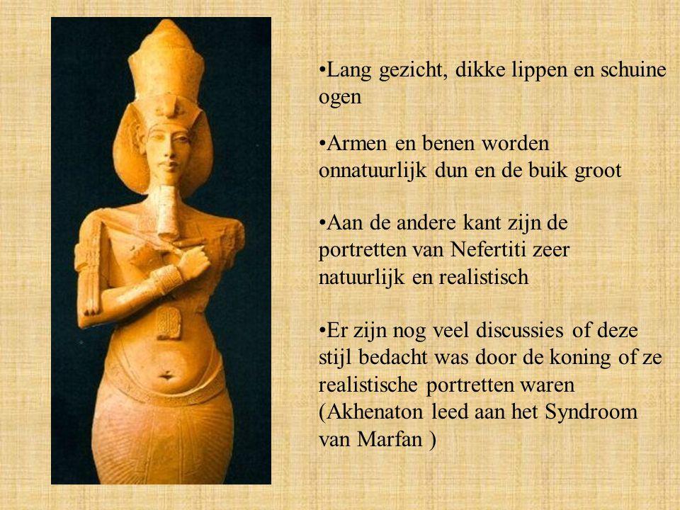 Armen en benen worden onnatuurlijk dun en de buik groot Lang gezicht, dikke lippen en schuine ogen Er zijn nog veel discussies of deze stijl bedacht was door de koning of ze realistische portretten waren (Akhenaton leed aan het Syndroom van Marfan ) Aan de andere kant zijn de portretten van Nefertiti zeer natuurlijk en realistisch