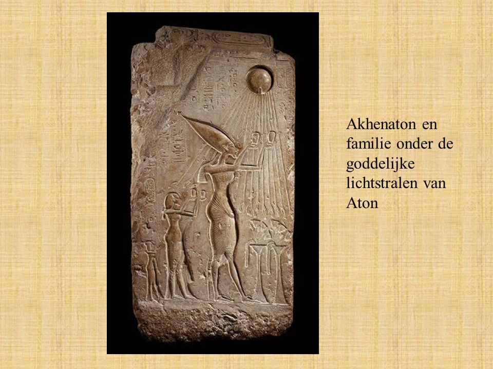 Akhenaton en familie onder de goddelijke lichtstralen van Aton