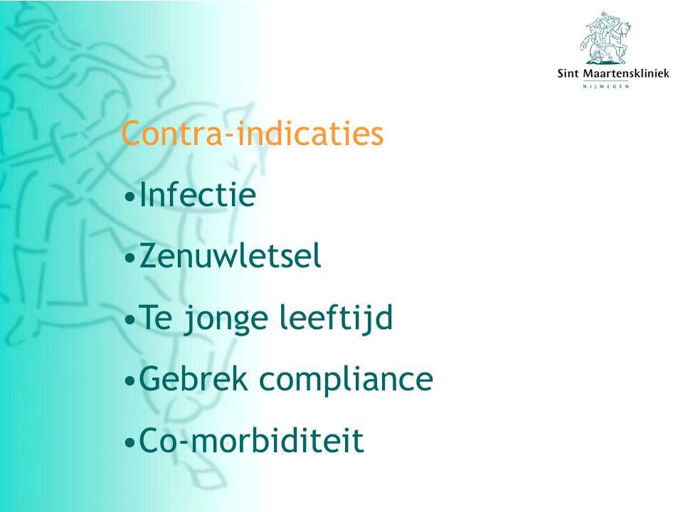 Contra-indicaties Infectie Zenuwletsel Te jonge leeftijd Gebrek compliance Co-morbiditeit
