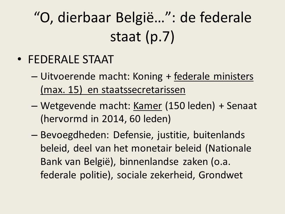 """O, dierbaar België…"": de federale staat (p.7) FEDERALE STAAT – Uitvoerende macht: Koning + federale ministers (max. 15) en staatssecretarissen – Wetg"