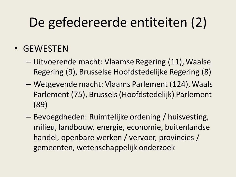 De gefedereerde entiteiten (2) GEWESTEN – Uitvoerende macht: Vlaamse Regering (11), Waalse Regering (9), Brusselse Hoofdstedelijke Regering (8) – Wetg