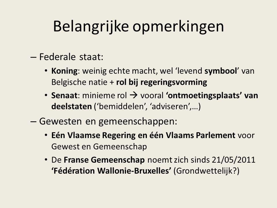 Belangrijke opmerkingen – Federale staat: Koning: weinig echte macht, wel 'levend symbool' van Belgische natie + rol bij regeringsvorming Senaat: minieme rol  vooral 'ontmoetingsplaats' van deelstaten ('bemiddelen', 'adviseren',…) – Gewesten en gemeenschappen: Eén Vlaamse Regering en één Vlaams Parlement voor Gewest en Gemeenschap De Franse Gemeenschap noemt zich sinds 21/05/2011 'Fédération Wallonie-Bruxelles' (Grondwettelijk?)