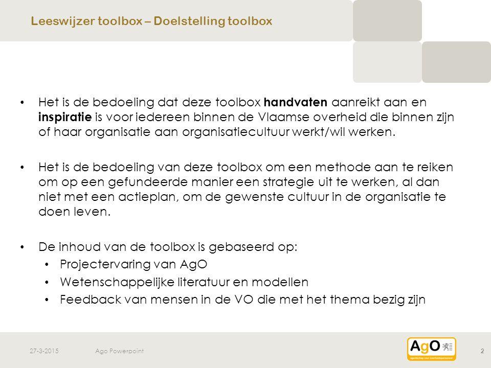 27-3-2015Ago Powerpoint2 Het is de bedoeling dat deze toolbox handvaten aanreikt aan en inspiratie is voor iedereen binnen de Vlaamse overheid die bin