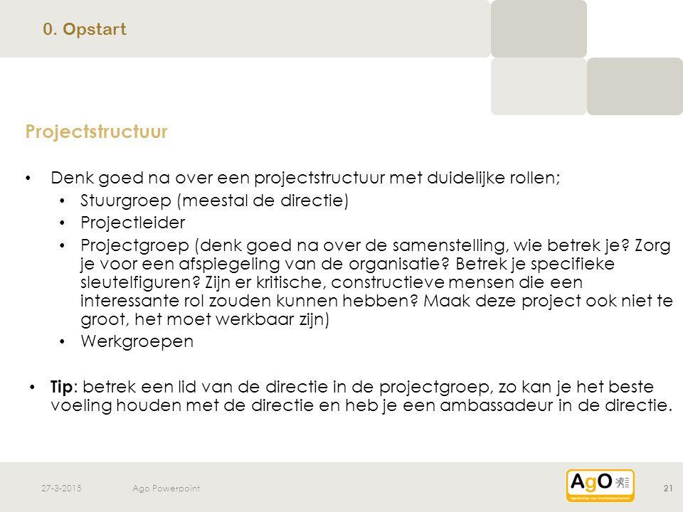 27-3-2015Ago Powerpoint21 Projectstructuur Denk goed na over een projectstructuur met duidelijke rollen; Stuurgroep (meestal de directie) Projectleide