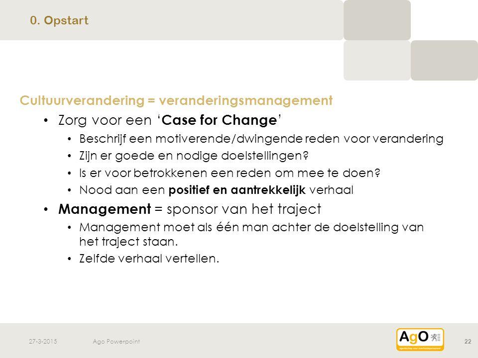 27-3-2015Ago Powerpoint22 Cultuurverandering = veranderingsmanagement Zorg voor een ' Case for Change ' Beschrijf een motiverende/dwingende reden voor