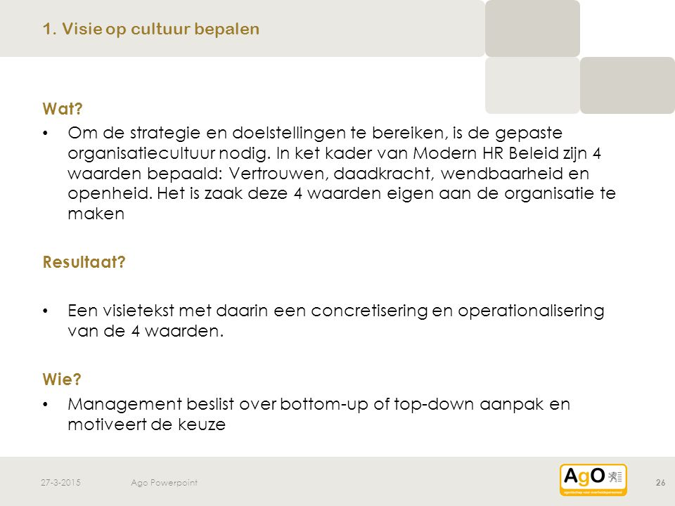 27-3-2015Ago Powerpoint26 Wat? Om de strategie en doelstellingen te bereiken, is de gepaste organisatiecultuur nodig. In ket kader van Modern HR Belei