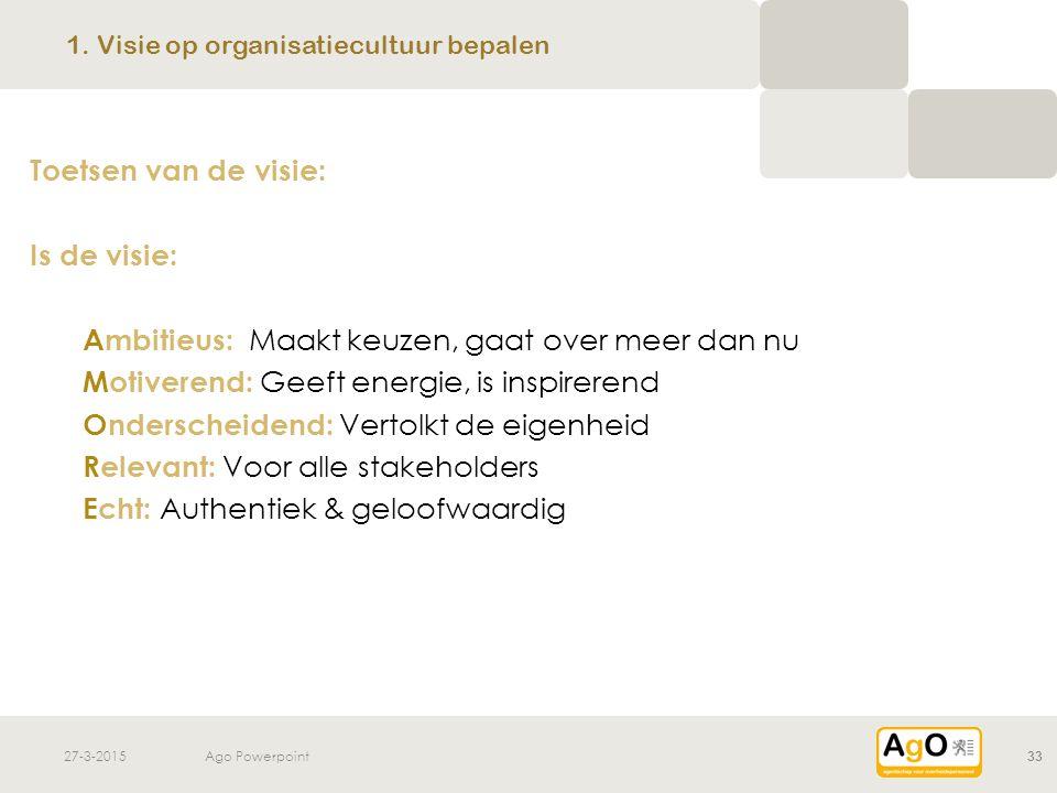27-3-2015Ago Powerpoint33 1. Visie op organisatiecultuur bepalen Toetsen van de visie: Is de visie: Ambitieus: Maakt keuzen, gaat over meer dan nu Mot
