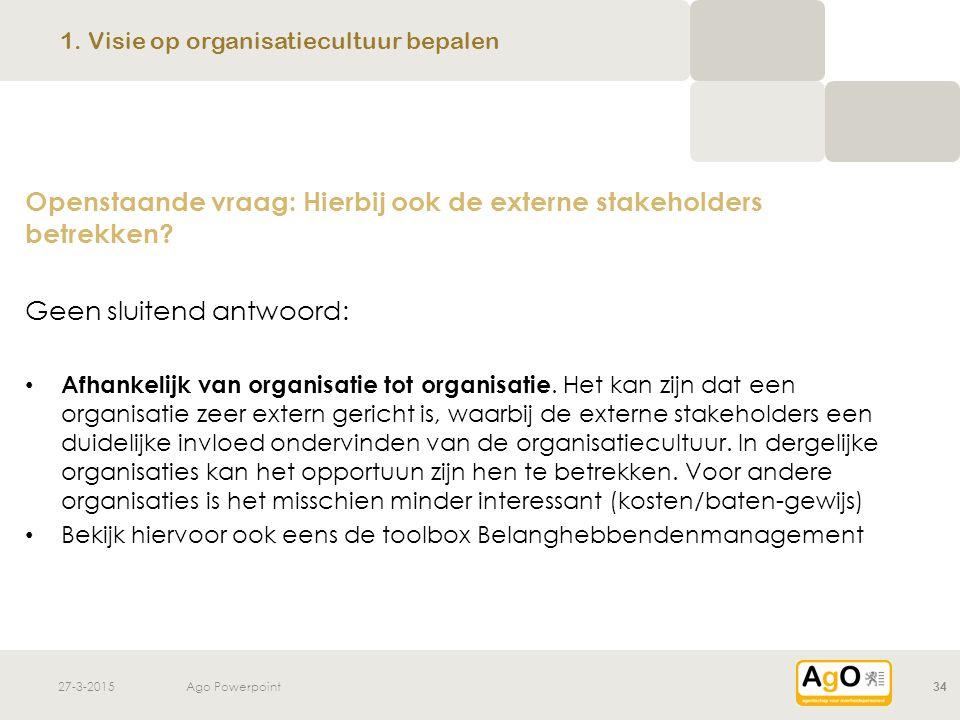 27-3-2015Ago Powerpoint34 Openstaande vraag: Hierbij ook de externe stakeholders betrekken? Geen sluitend antwoord: Afhankelijk van organisatie tot or