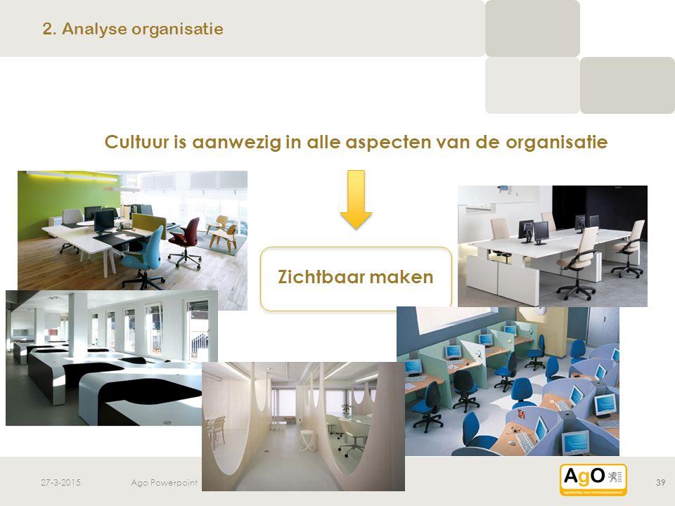 27-3-2015Ago Powerpoint39 Cultuur is aanwezig in alle aspecten van de organisatie Zichtbaar maken 2. Analyse organisatie